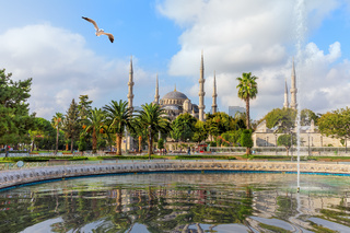 The Blue Mosque of Istanbul and the fountain in Sultan Ahmet park