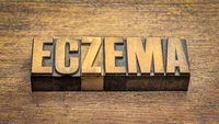eczema word abstract in vintage letterpress wood type