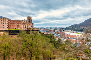 Panorama of Heidelberg Castle, ger. Schloss Heidelberg, and Skyline of Downtown of Heidelberg, Baden-Wuerttemberg, Germany. Europe