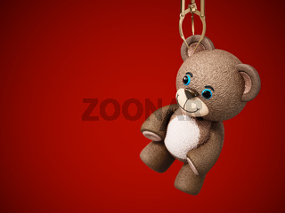 Toy claw machine holding a teddy bear. 3D illustration