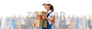 Delivery girl and many people