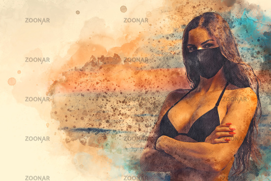 Sensual young woman wear black color cloth mask pose at sunrise near the sea. Concept of covid-19 outbreak. Obligatory compulsory use face masks outdoors. Fashion and beauty. Digital water-colour art