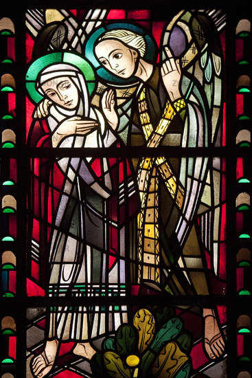 Stained glass window of the St. Augustine's church, Gelsenkirchen, Ruhr area, Germany, Europe