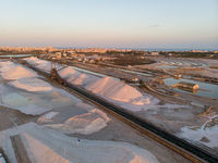 Aerial view Las Salinas salt factory of Torrevieja. Spain