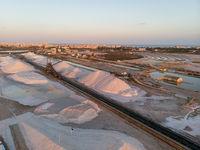 Aerial view Las Salinas salt factory of Torrevieja. Spain