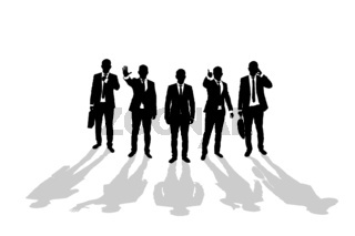 Various business man silhouettes 4
