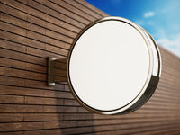 Blank round signboard attached to the wall. 3D illustration