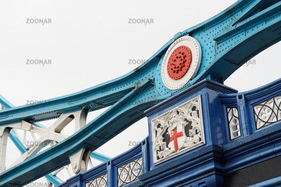 The metal at the Tower Bridge in London