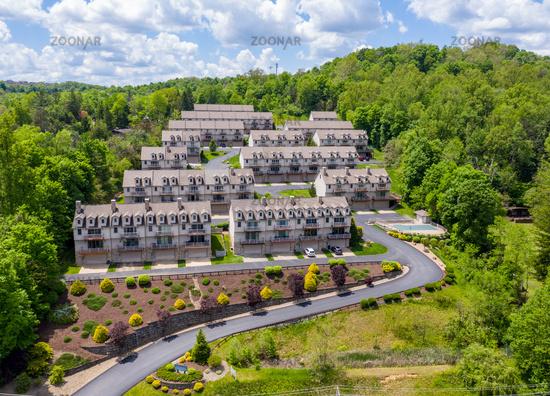 Townhouse development by Cheat Lake in Morgantown West Virginia