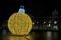 Christmas decoration on the cathedral square in Magdeburg in Germany in the evening