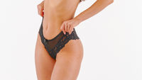 Woman In black Lingerie Isolated On white