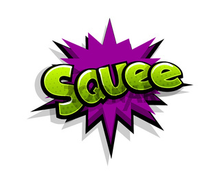 Comic text sque, squee logo sound effects