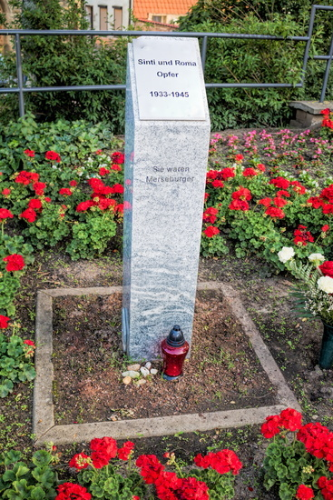 Merseburg, Germany - 06/18/2019 - Monument to the victims of sinti and roma