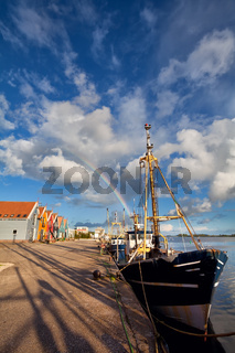 rainbow over harbour in Zoutkamp