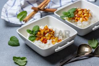 Rice porridge with almond milk.Vegetarian cuisine.