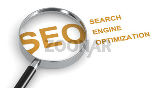 SEO, Search Engine Optimization, word under magnifying glass