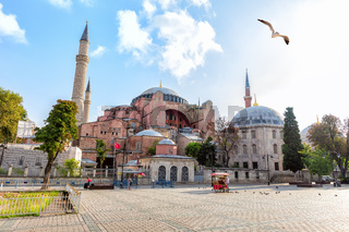Hagia Sophia Museum and the memorial, view from the Sultan Ahmet Square, Istanbul