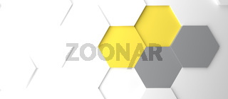 Modern grey and yellow honeycomb background Color of the Year