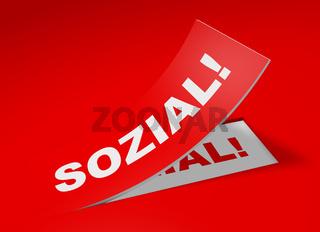 3D Etikett Rot - Sozial!