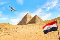 Flag and pyramids