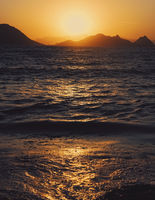 Sea view and mountains in the Mediterranean at sunset, summer vacation travel and holiday destination