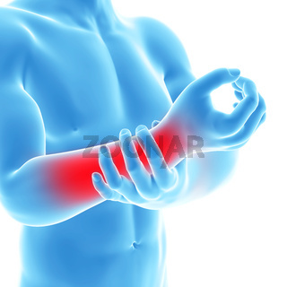3d rendered illustration of a man having pain in the arm
