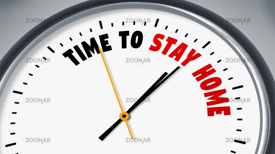 clock with text time to stay home