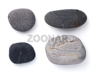 Set Of Various Grey Pebble Stones Isolated