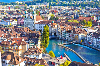 City of Luzern and Reuss river panoramic view