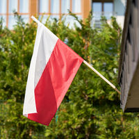 Polish national flag on a house in Swinoujscie in Poland