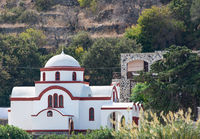 Brown white church on the volcanic island of Nisyros on the Aegean Sea Greece