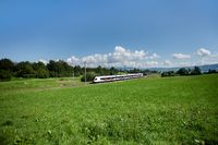 Landscape Photographic- with train, moving along Zugersee