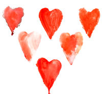 Red watercolor hearts set