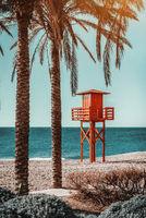 Lifeguard tower on the beach. Benalmadena, Malaga. Spain