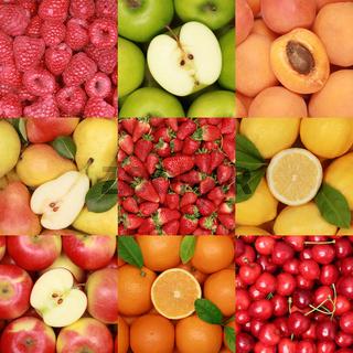 Collage mit Früchten und Obst
