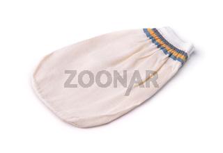 White cloth bath mitt