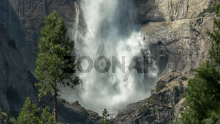 close up of the base of the first section of yosemite falls