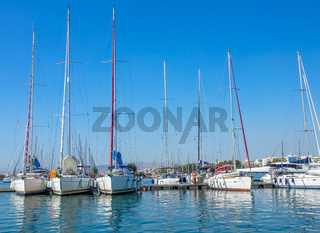 Many Yachts on a Yacht Anchorage on a Sunny Summer Day