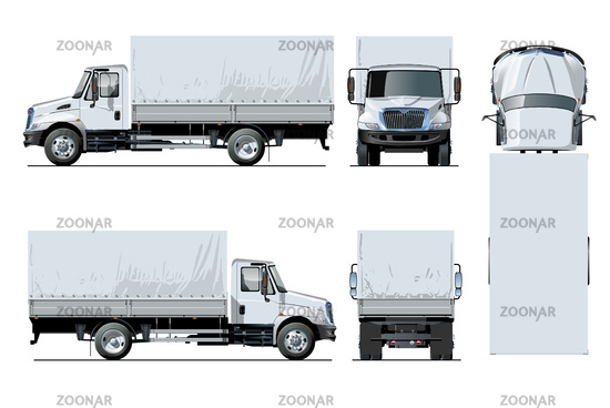 Vector awning flatbed truck template isolated on white background