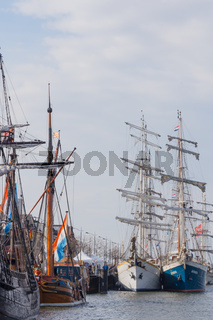 Kampen, The Netherlands - March 30, 2018: Sailing ships at the quay during Sail Kampen