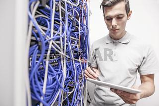 Man in server data center