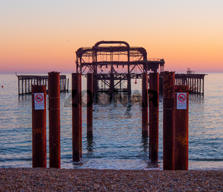 The remains of former Brighton Pier