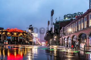 rainy wet lansdowne street in boston massachusetts