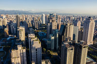 cityscape of Taichung city with skyscrapers and buildings