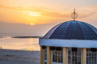 Sunset at the music pavillon of Borkum