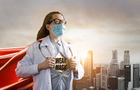 Heroic doctor fighting with epidemic