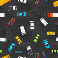 Top view of realistic glossy cars on asphalt, seamless pattern