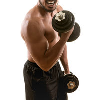 Young muscular strong man exercising biceps curls with dumbbells, isolated on white background. Martial arts, fitness, workout concept.