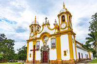 Facade of an old church built in the 18th century in baroque style at Tiradentes city