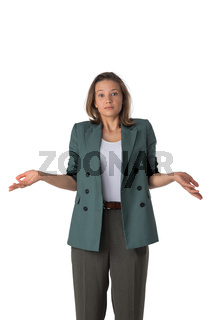 Clueless business woman isolated